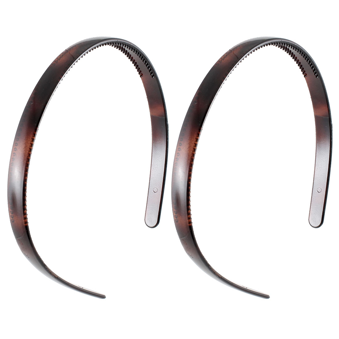2 Pcs Dark Brown Plastic Teeth Hairstyle Hair Band Hoop Headwear for Women