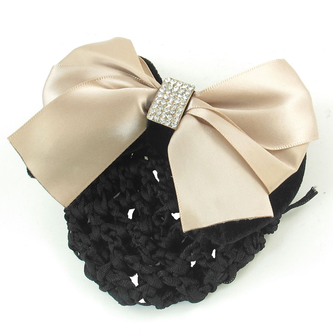Lady Khaki Polyester Bowknot Detail French Clip Hair Snood Net Barrette