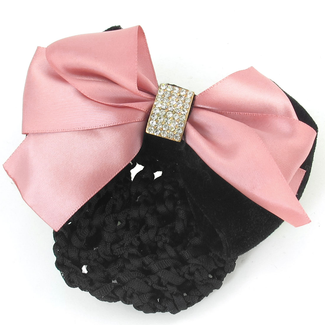 Woman Pink Polyester Bowknot Accent Barrette Snood Net Hair Clip