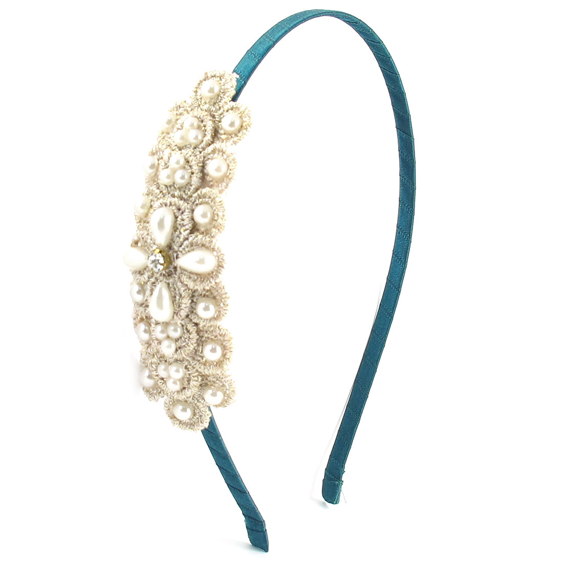White Faux Pearl Detailing Hairstyle Hair Band Hoop Headwear Green for Lady