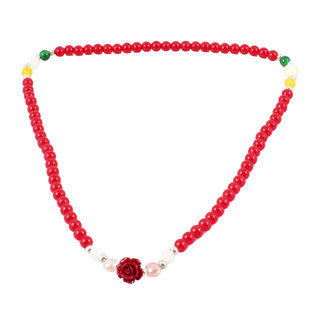 Woman Floral Pendant Plastic Beads Crystal Necklace Ring Bracelet Red