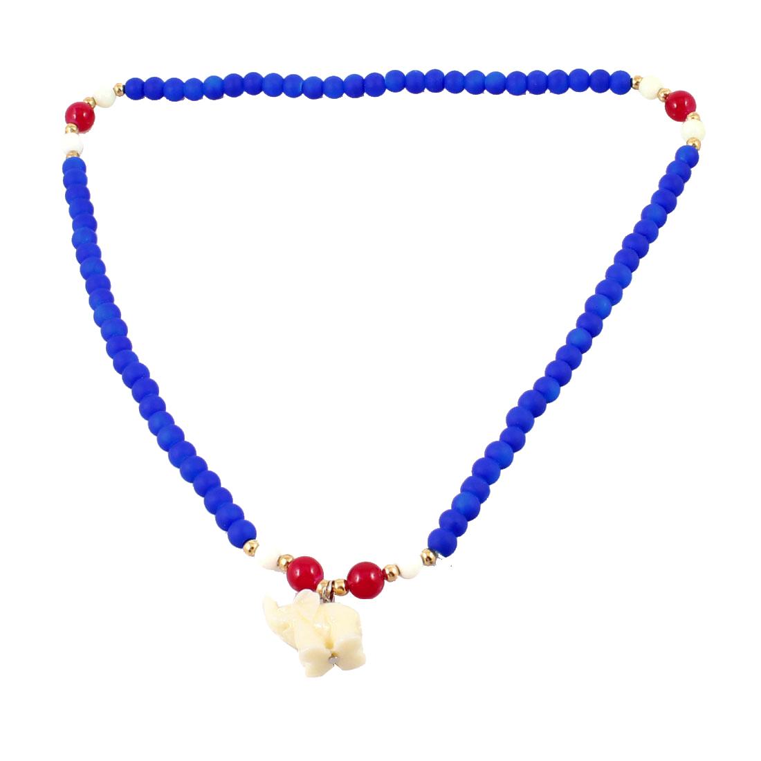 Lady Elephant Decor Pendant Plastic Beads Stretchy Necklace Ring Dark Blue