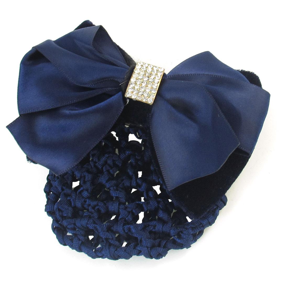 Rhinestones Bowtie Decor Navy Blue Barrette Hair Clip Snood Net for Women