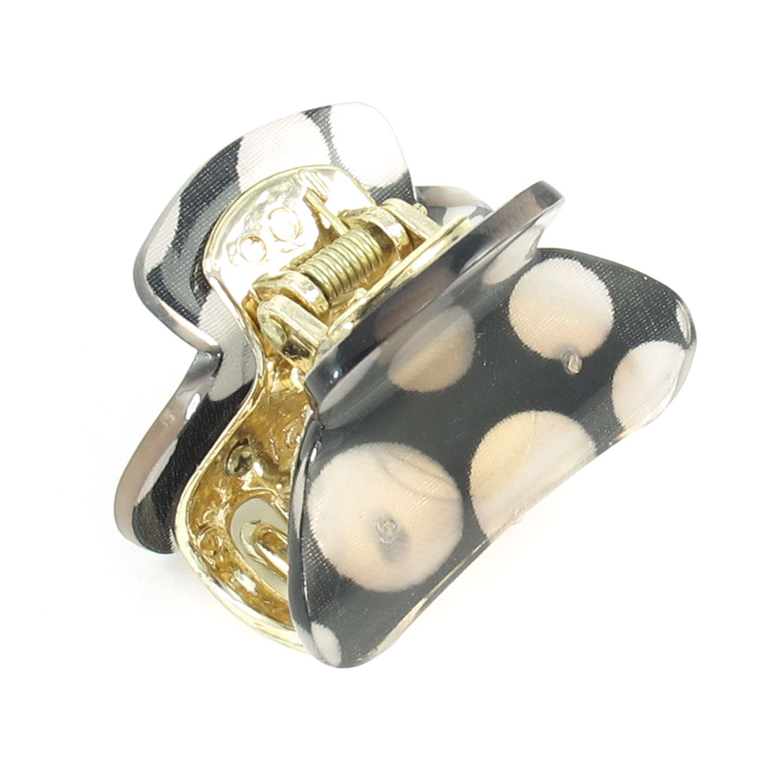 Woman Hair Ornament Dots Pattern Press Spring Plastic Hairclip Claw Clamp