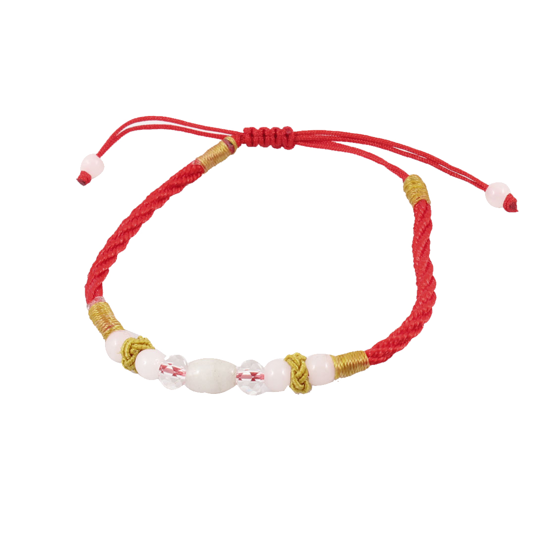 Knitted String Faux Crystal Beads Decor Bracelet Chain Red White for Girls