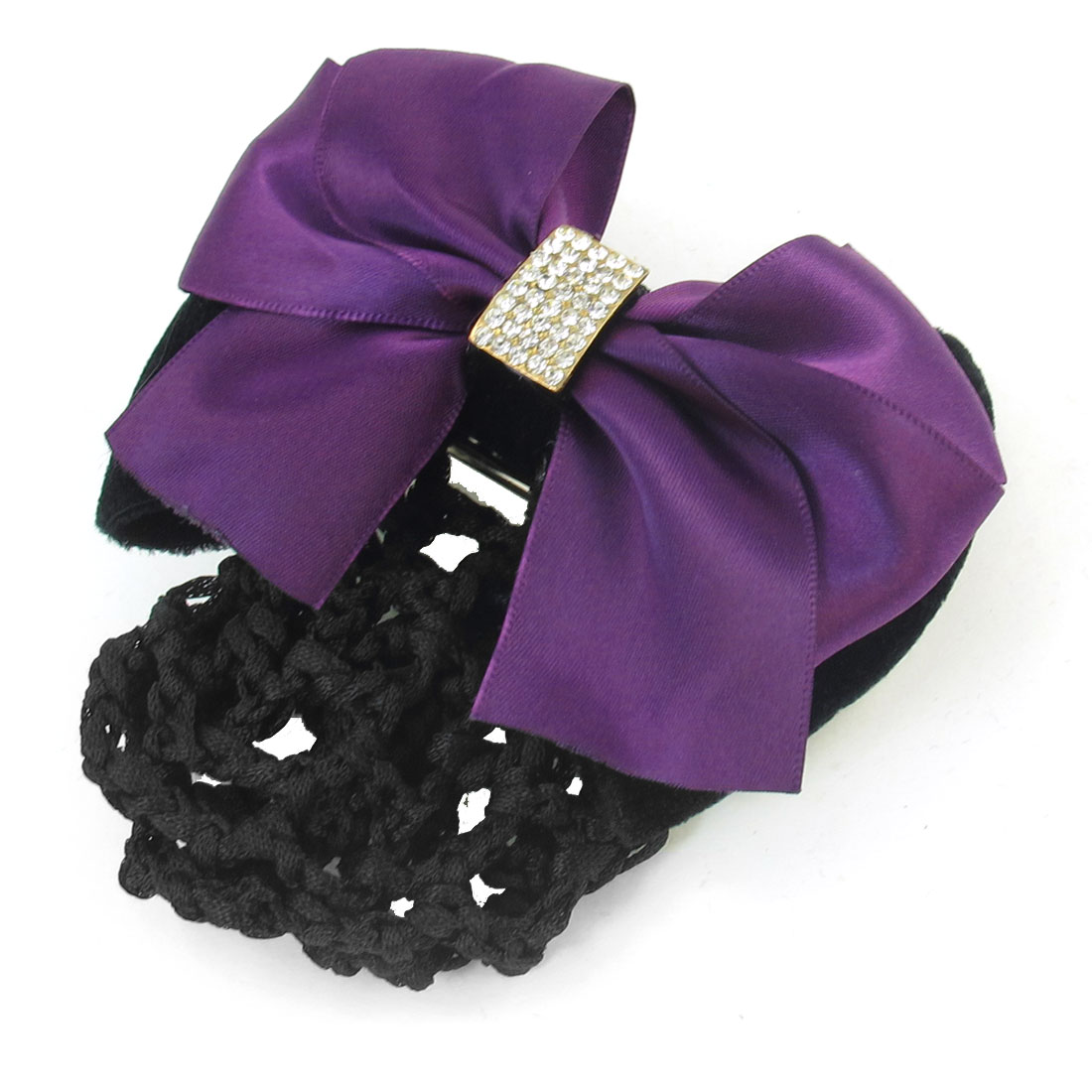 Lady Glitter Rhinestones Bowknot Detail Barrette Snood Net Hair Clip
