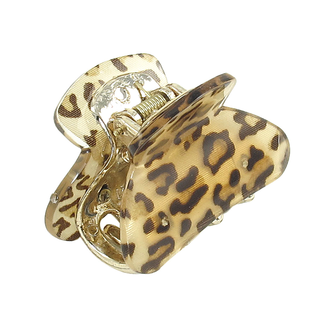 Lady Leopard Print Press Spring Plastic Teeth Hair Clip Claw Clamp Beige