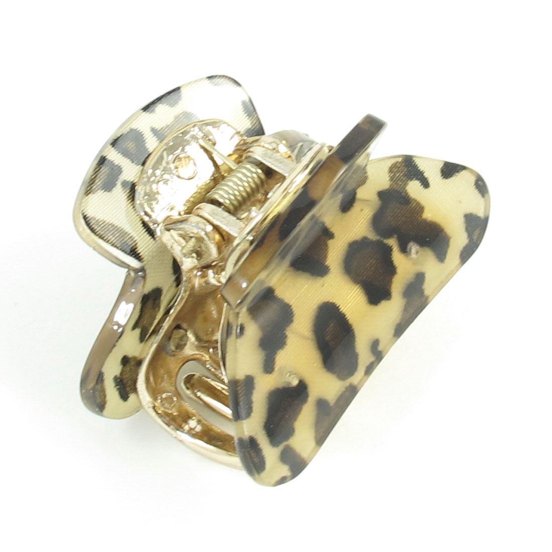 Beige Leopard Print Press Spring Plastic Hair Claw Clamp Clip for Women