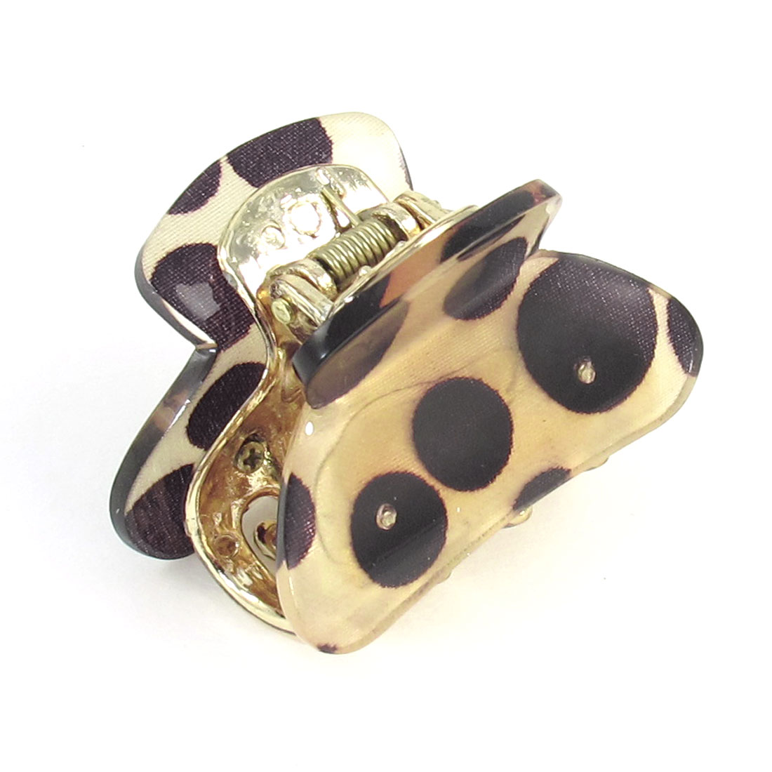 Lady Hair Decoration Dots Printed Plastic Hairclip Claw Clamp Khaki