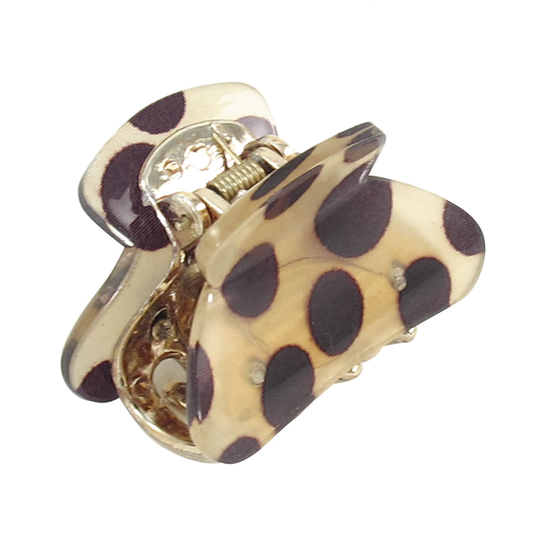 Women Lady Chocolate Color Dots Pattern Plastic Hair Claw Clamp Hairclip Khaki