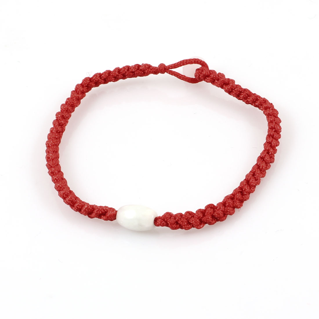 Red String Twisted Plastic Oval Bead Decoration Bracelet Bangle for Lady