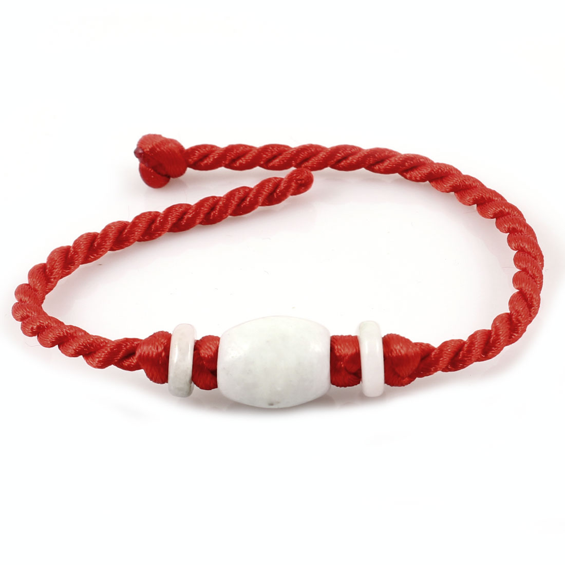Plastic Beads Decor Handcrafted String Lucky Wristlet Bracelet Red for Lady