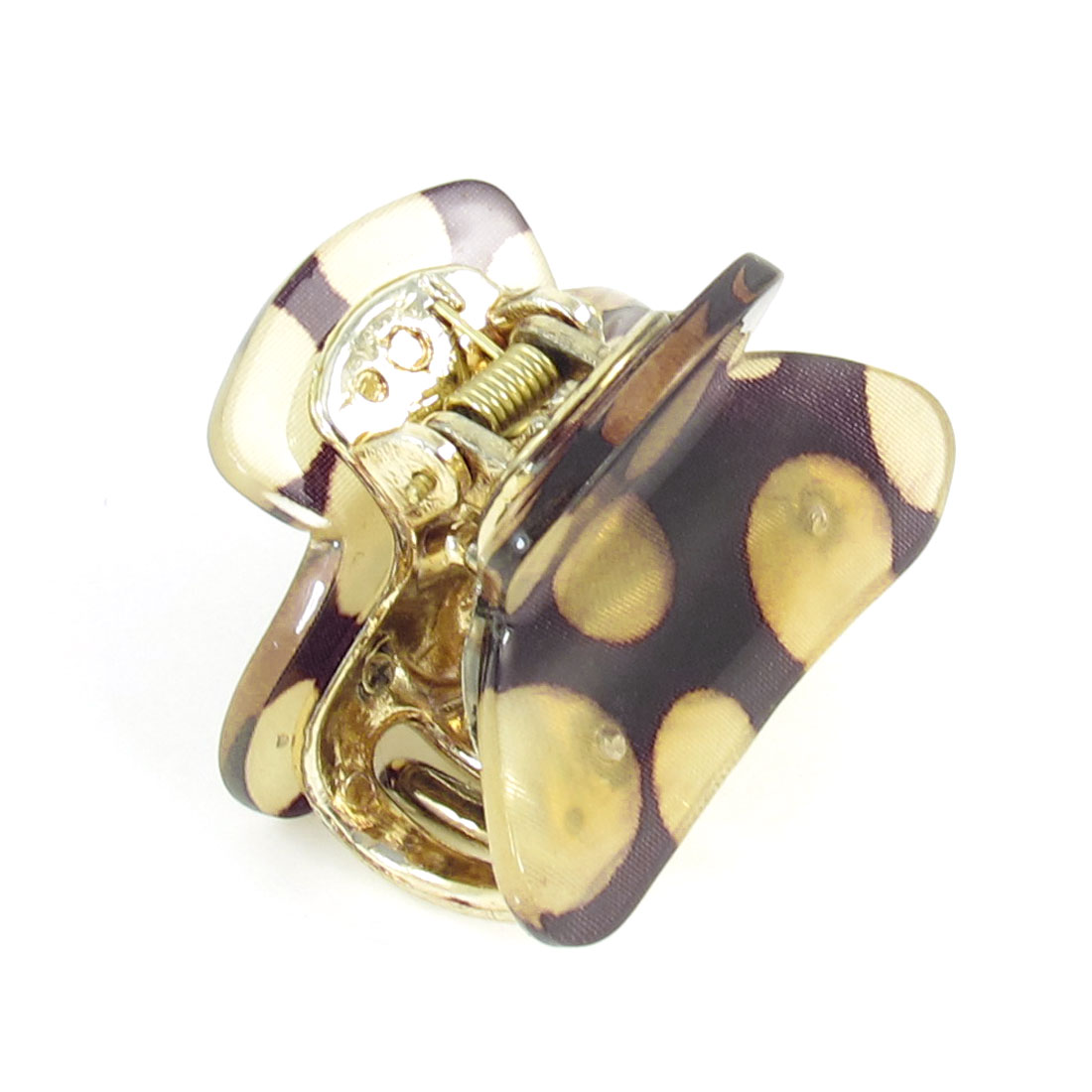Woman Khaki Dots Pattern Press Spring Plastic Hair Claw Clamp Hairclip