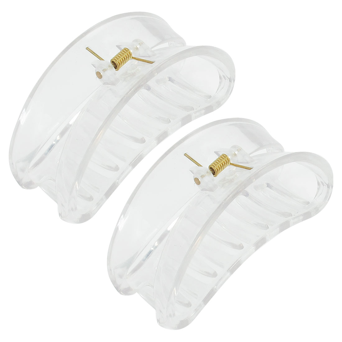 2 Pcs Clear Arch Design 6 Row Teeth Plastic Hair Claw Clamp Clip for Women