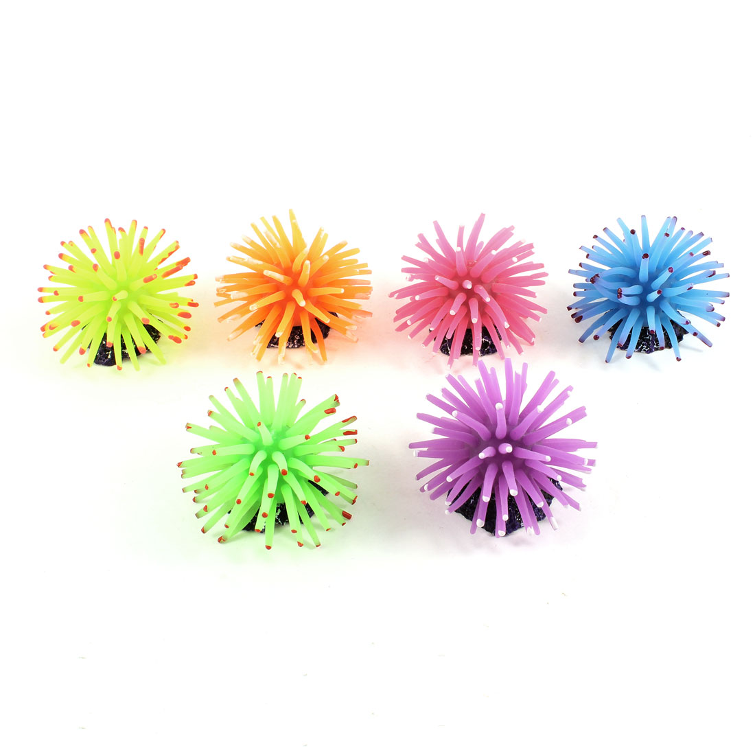 6pcs Soft Silicone Coral Shaped Assorted Color Sea Anemone Decor for Fish Tank