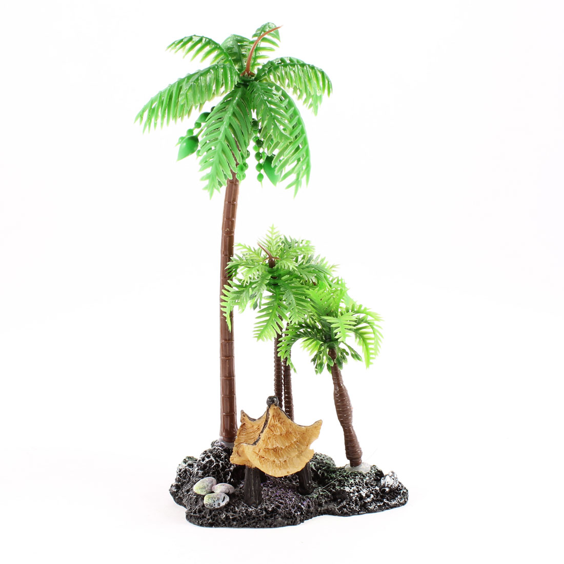 Aquarium Decor Black Ceramic Base Green Artificial Coconut Tree Plants 6""