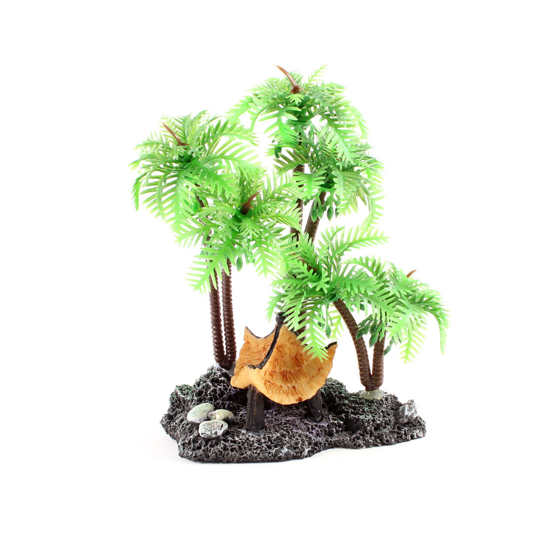 "Green Plastic Coconut Tree Style Aquatic Plants 4.5"" Height for Aquarium"