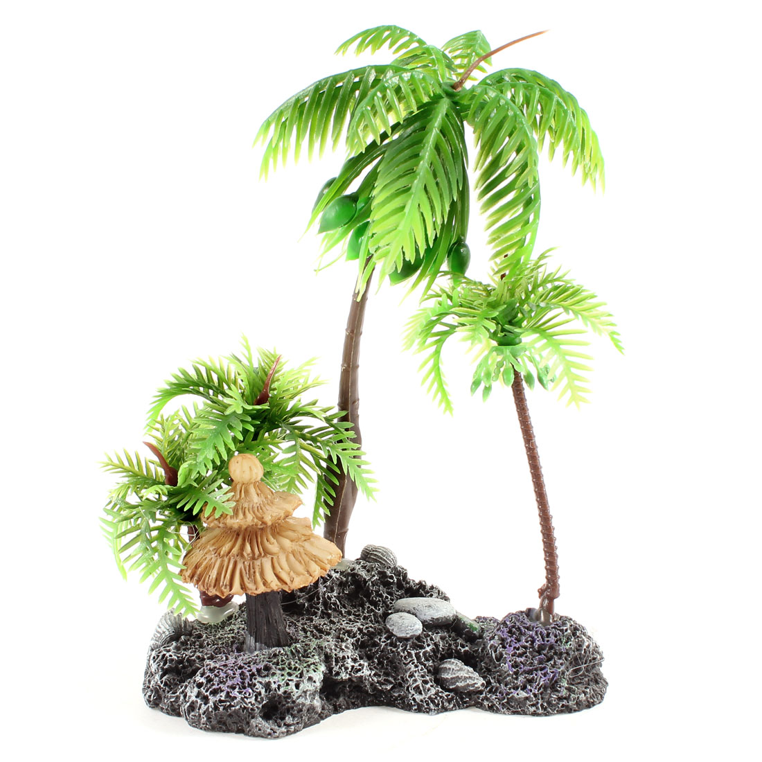 "Aquarium Decor Ceramic Base Green Artificial Coconut Tree Plants 5"" High"