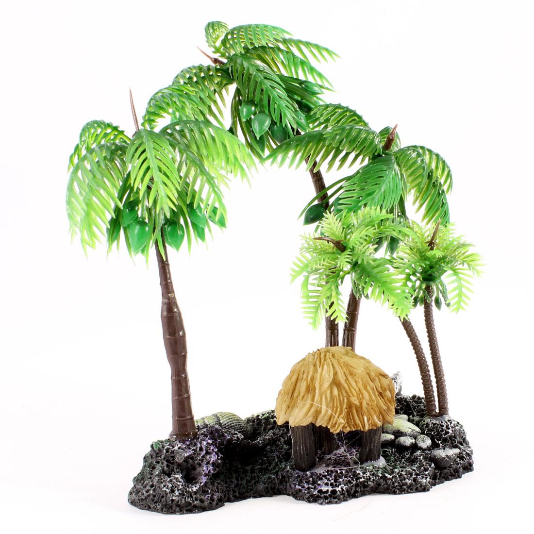 """Coconut Tree Style Ceramic Base Artificial Underwater Plant 6"""" High for Aquarium"""