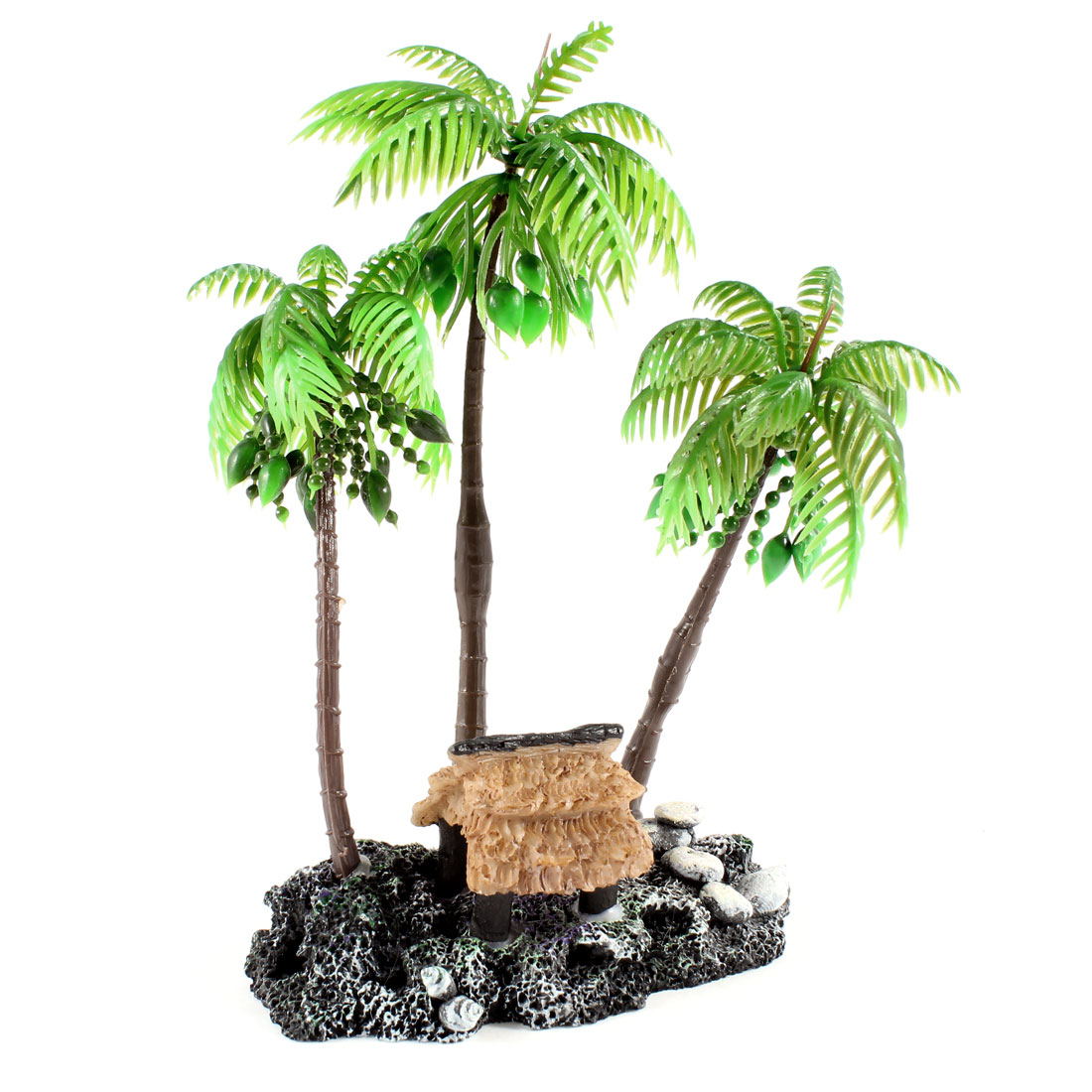 "7.1"" High Coconut Tree Shape Ceramic Base Green Plastic Water Plant for Fishbowl"