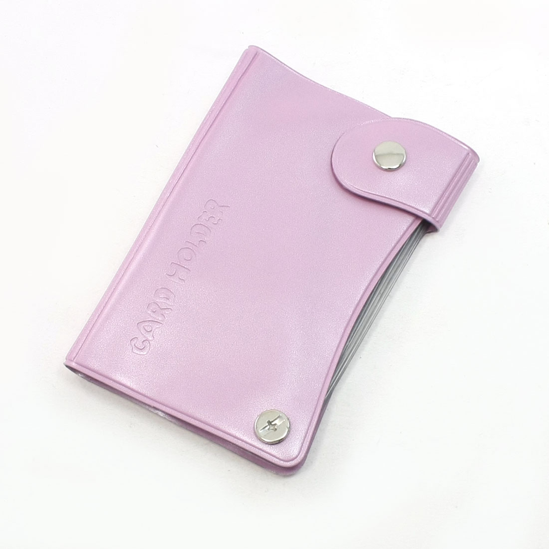 Pink Plastic Snap Button Closure Multiple Layers Card Holder
