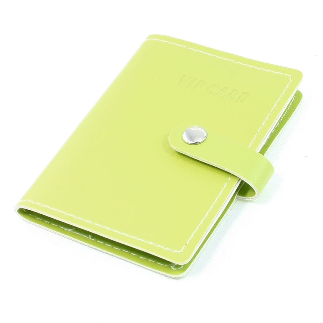 Yellow Faux Leather Snap Button Closure Card Holder