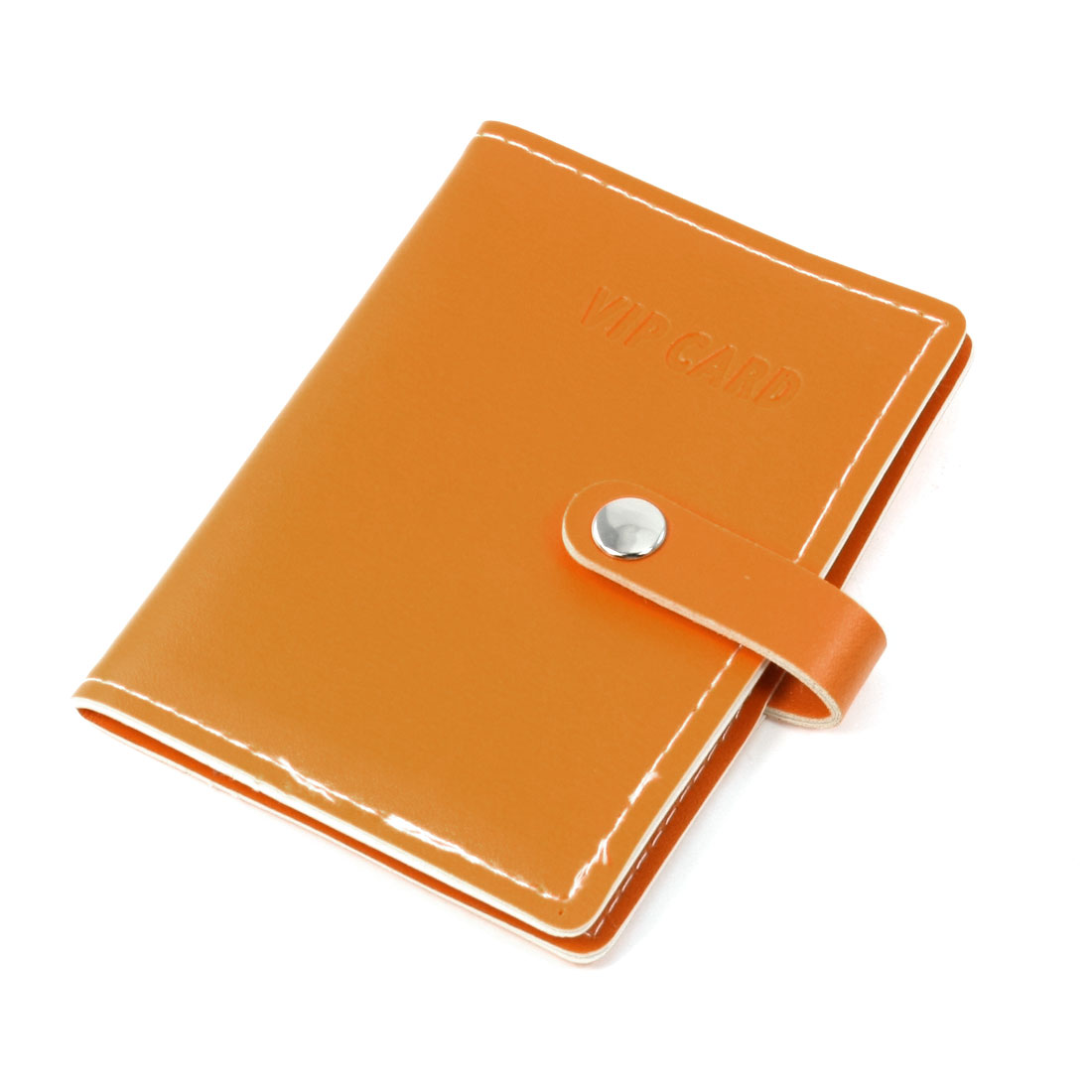 Orange Faux Leather Snap Button Closure Credit Card Holder