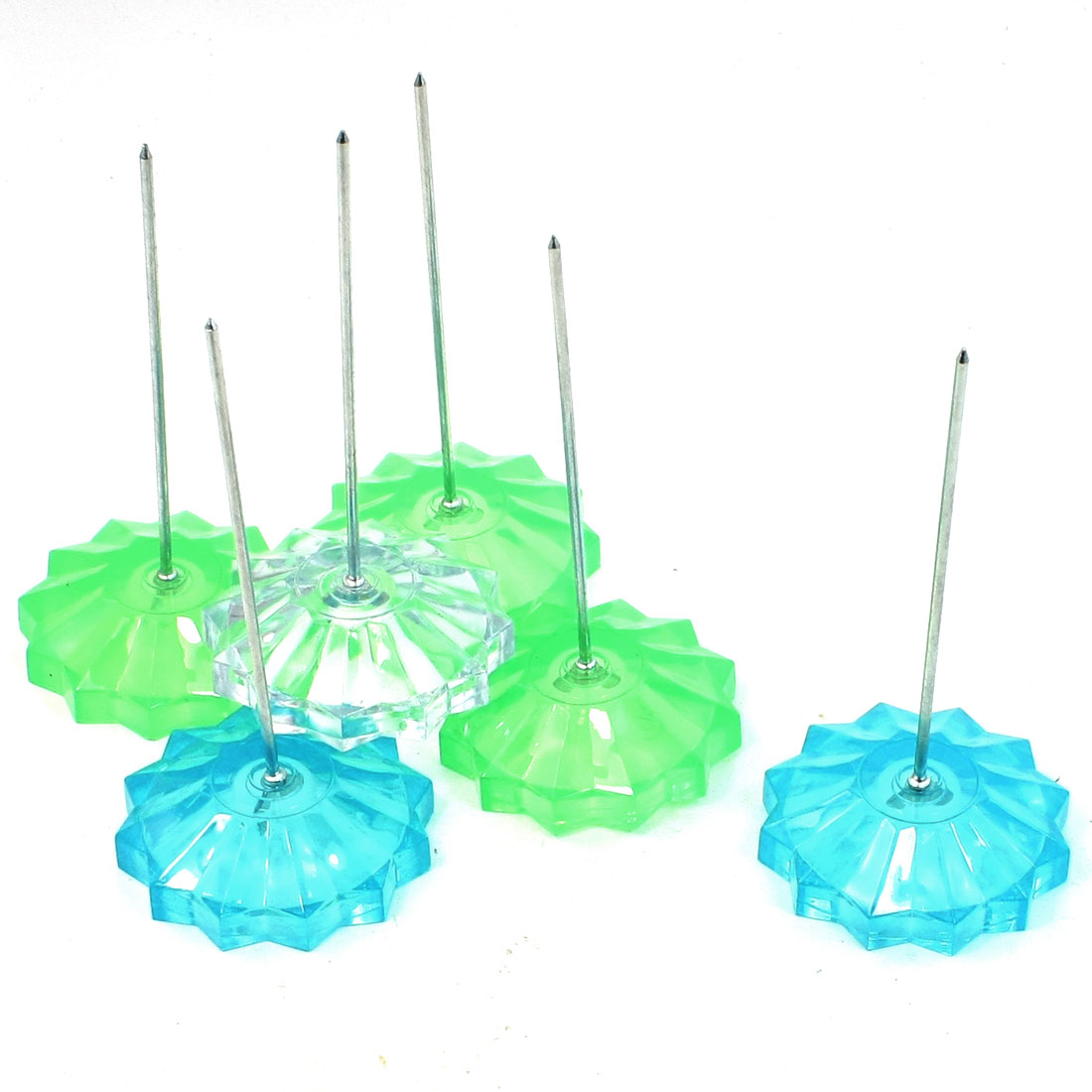 6 Pcs Green Blue Colorless Sunflower Shape Base Memo Stick