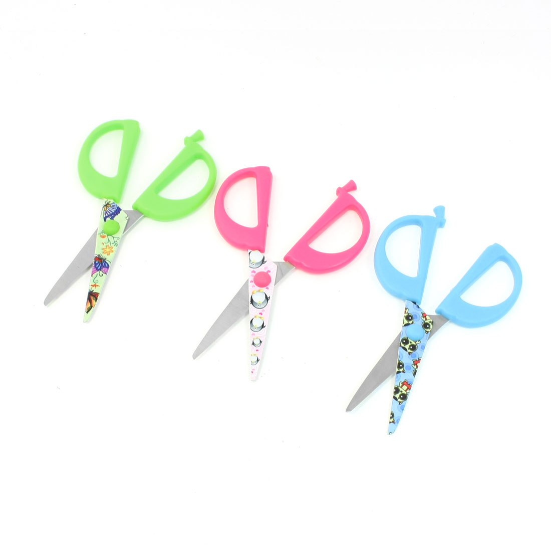 3 Pcs Blue Fuchsia Green Stainless Steel Blade Scissors for Children