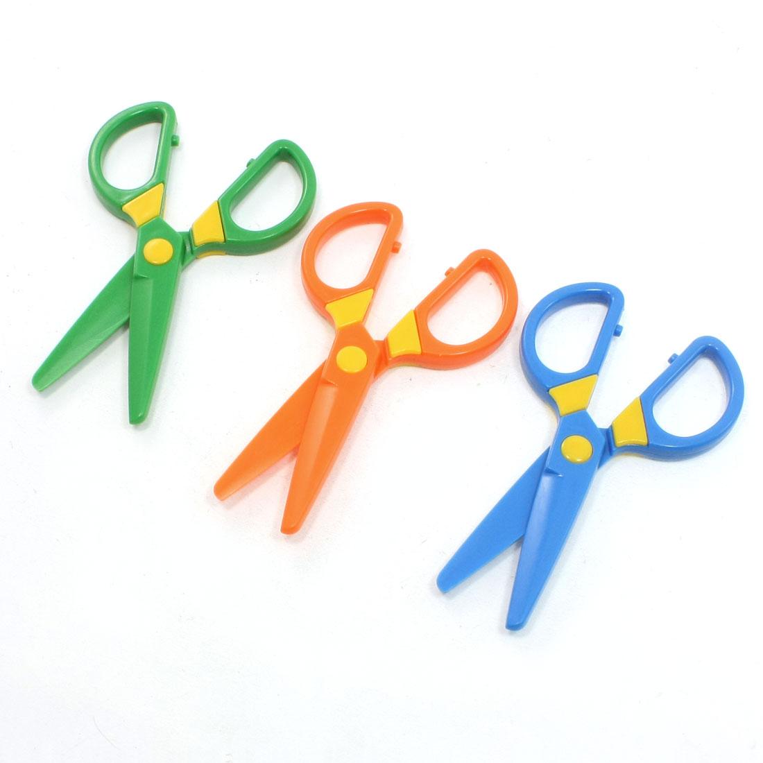 3 Pcs Blue Orange Green Whole Plastic Scissors for Children