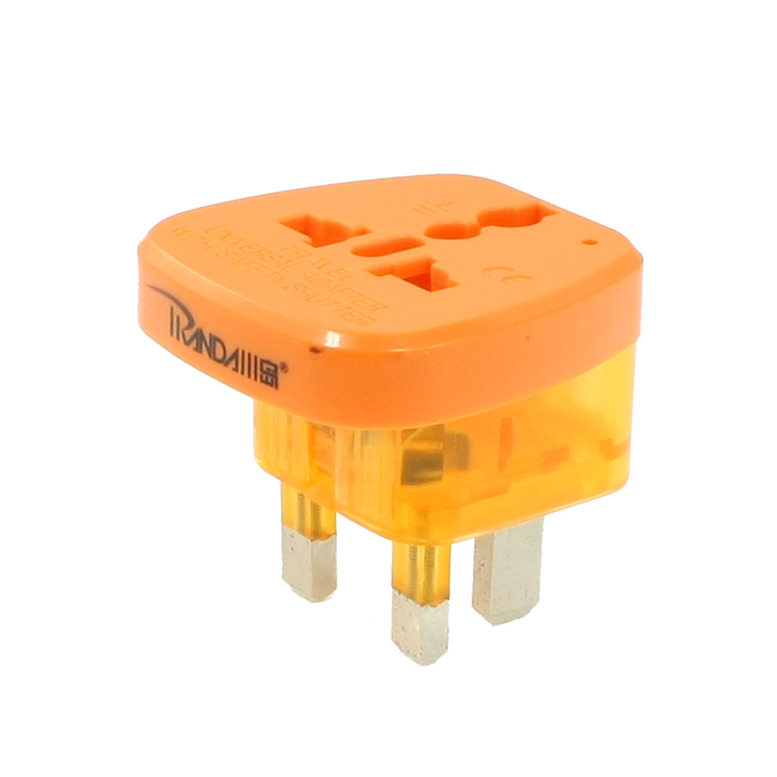 Orange 3 Pin UK Plug to EU US AU Socket Travel Adapter AC 250V 13A