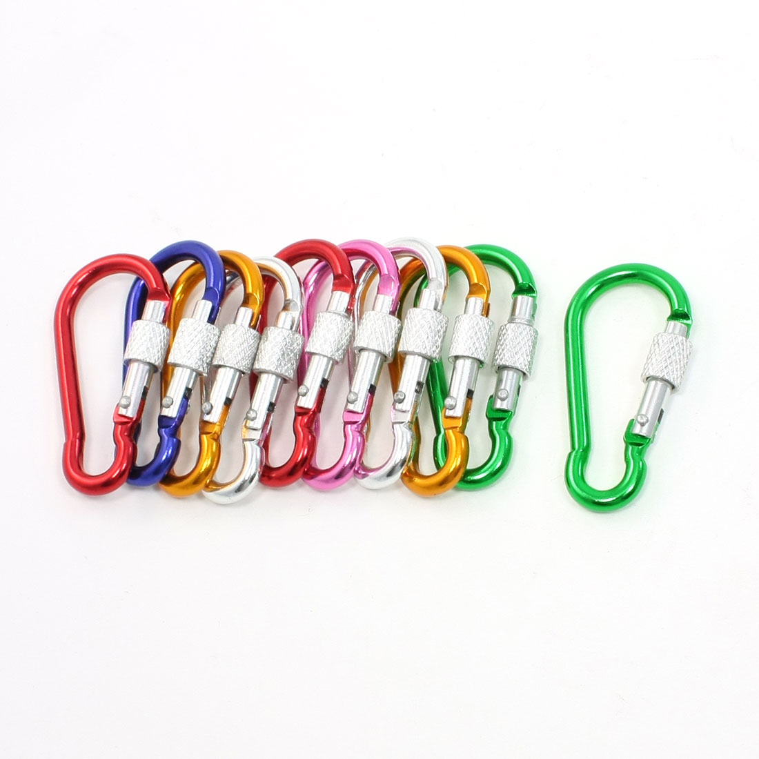 10 Pcs Multi Color Spring Loaded Gate Screw Lock Carabiner Hooks