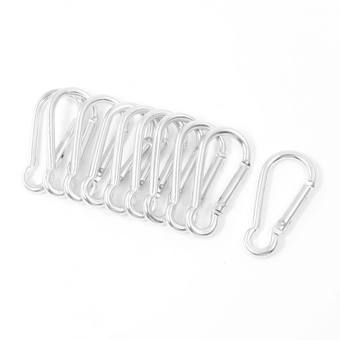 10 Pcs Silver Tone Spring Loaded Gate Screw Lock Carabiner