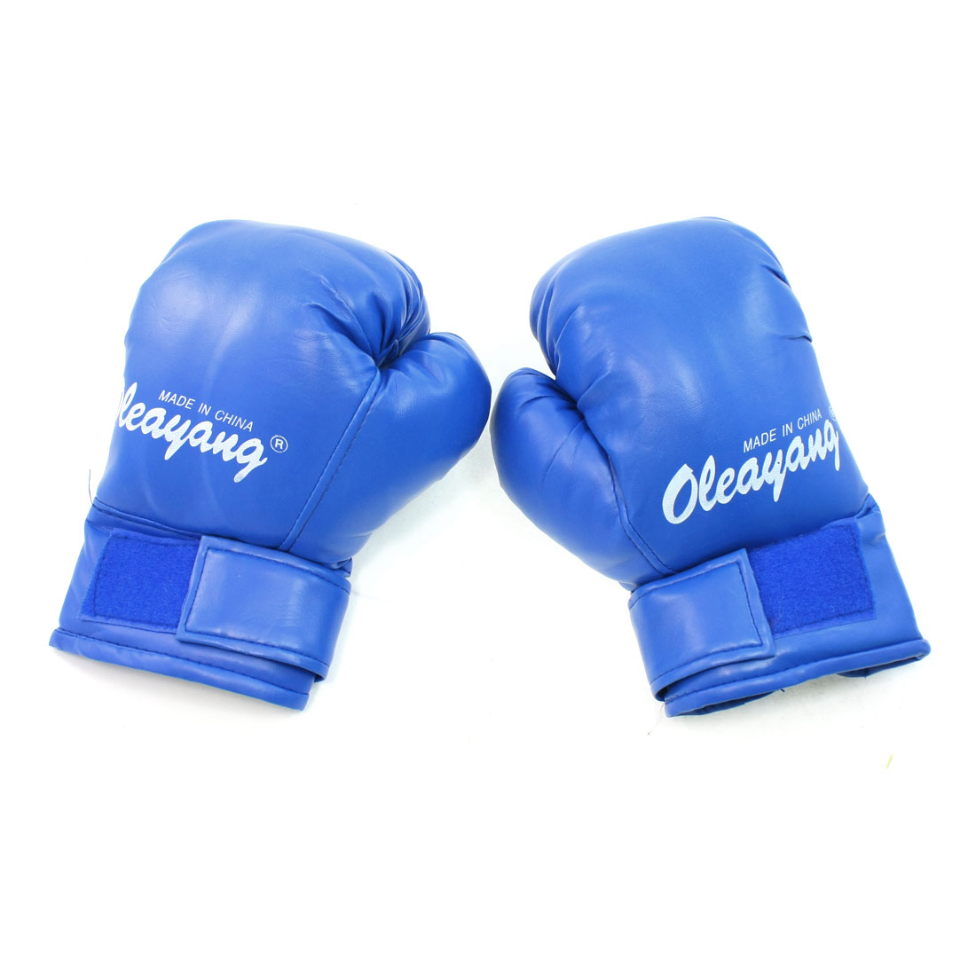Blue Gym Athletic Sports Protection Faux Leather Foam Boxing Gloves