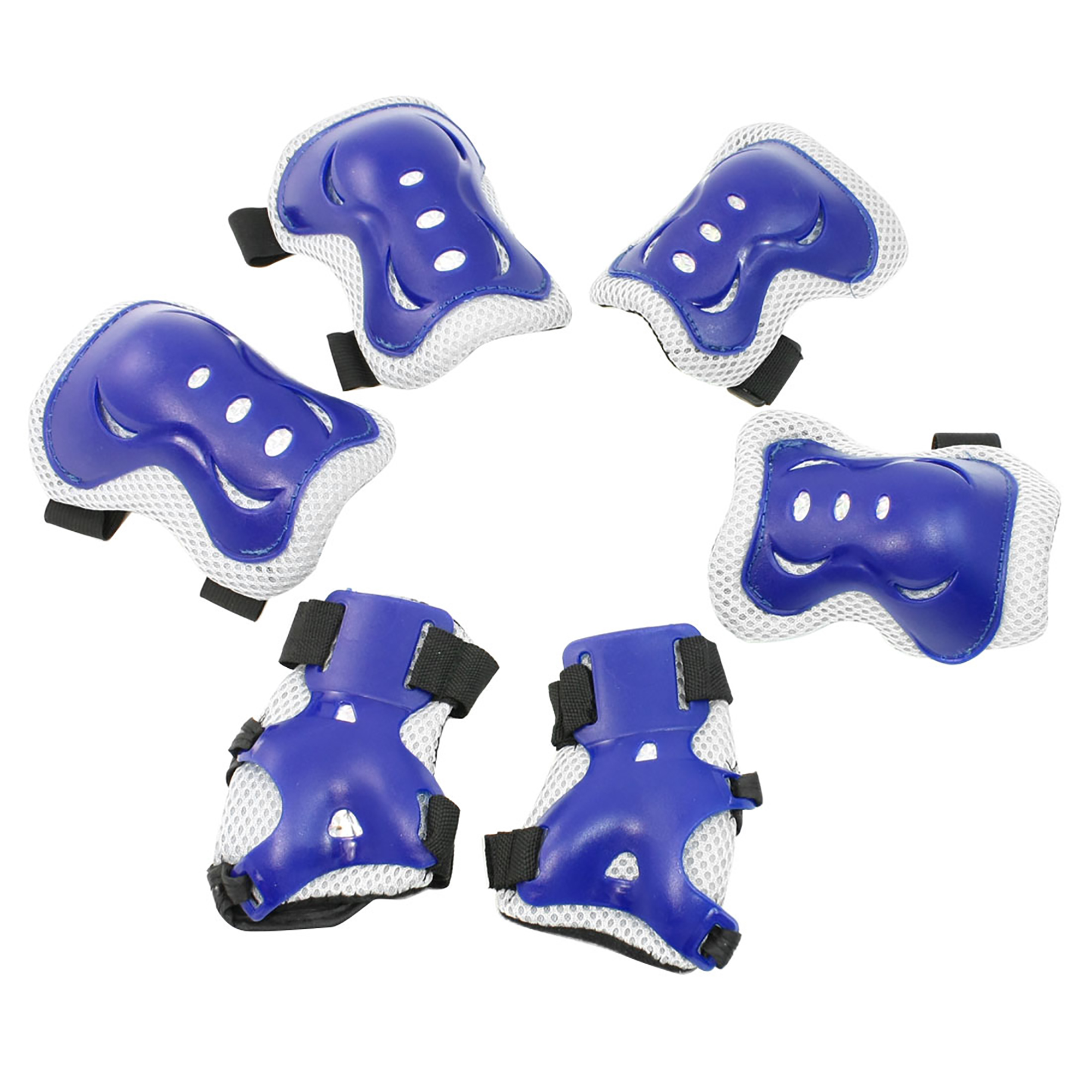 Blue Skating Sports Protective Palm Elbow Knee Support Set for Children