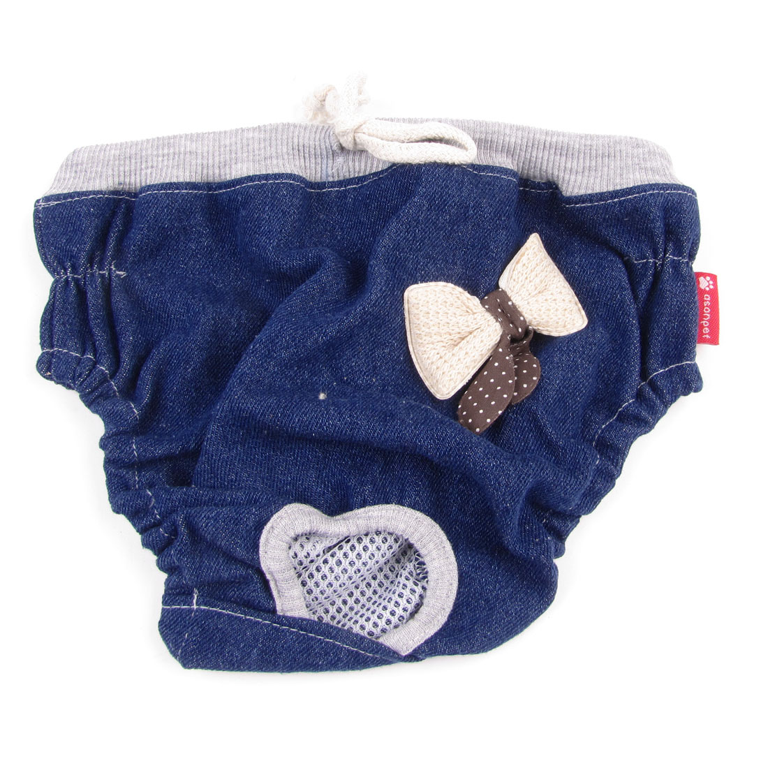 Pet Dog Doggie Bowtie Detail Stretchy Waist Diaper Pants Underwear Blue Size L