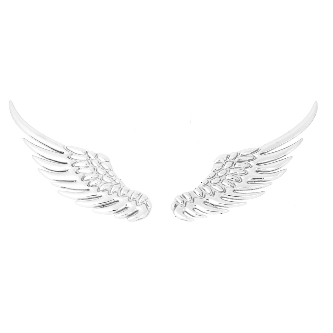 2 x Silver Tone Metal 3D Wings Design Sticker Badge Emblem for Car