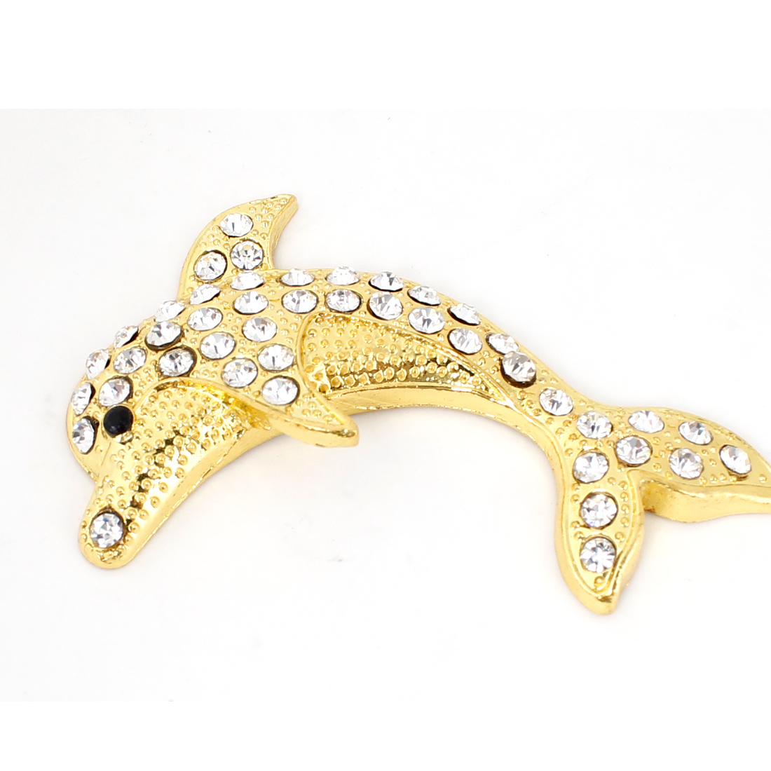 Vehicle Car Faux Rhinestone Adorn 3D Dolphin Shaped Emblem Sticker Gold Tone