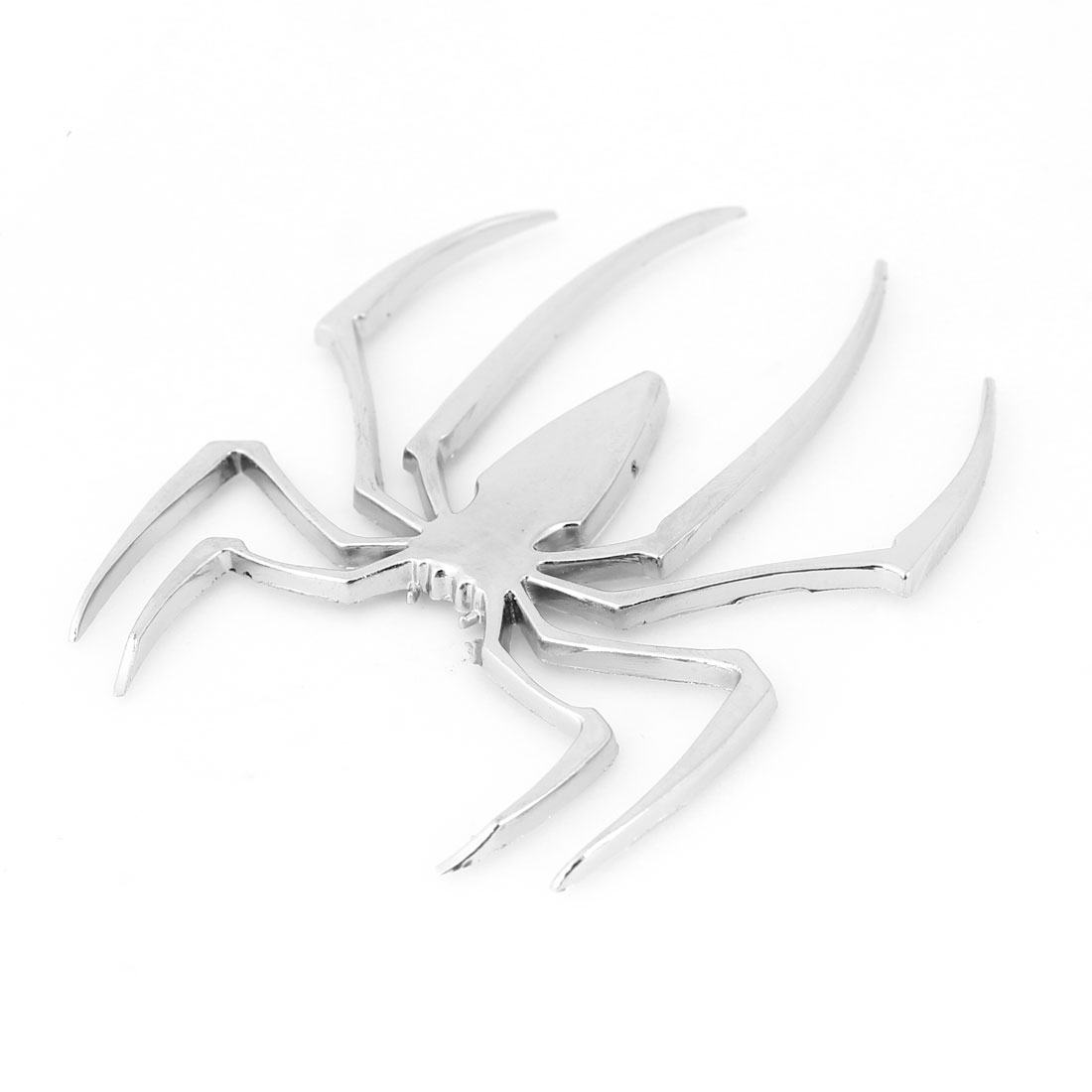 Metal 3D Silver Tone Spider Shape Sticker Badge Emblem for Auto Decor