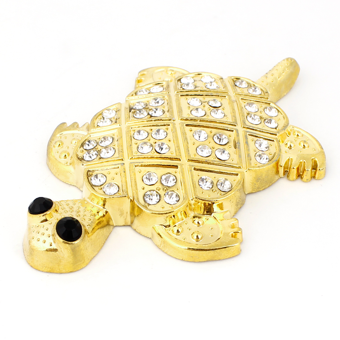 Faux Rhinestone Decor Tortoise Shaped Sticker Badge Gold Tone for Auto
