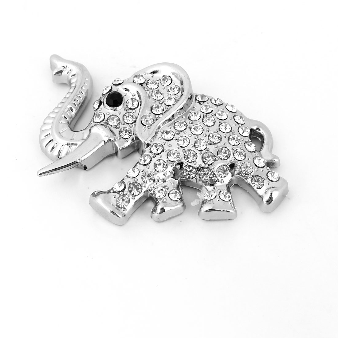 Metal 3D Silver Tone Elephant Shape Sticker Badge Emblem for Auto Decor