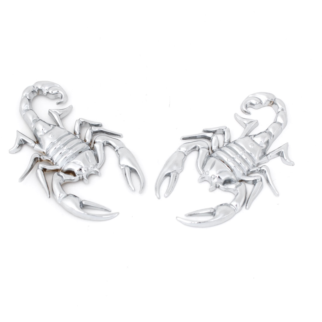 2 Pcs Silver Tone Metal 3D Scorpion Shape Sticker Decal Badge for Car