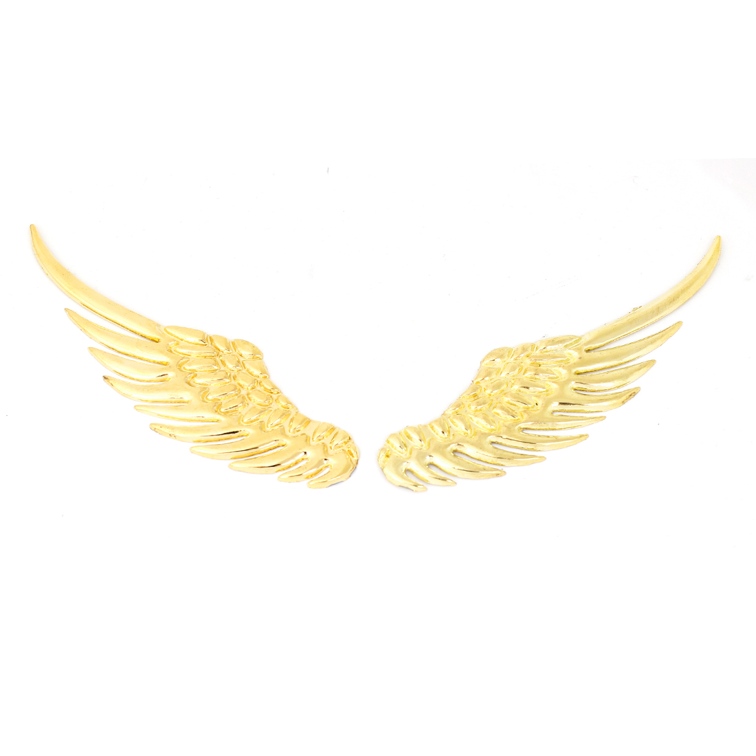 2PCS Gold Tone Metal 3D Wings Shaped Sticker Decal Badge for Auto