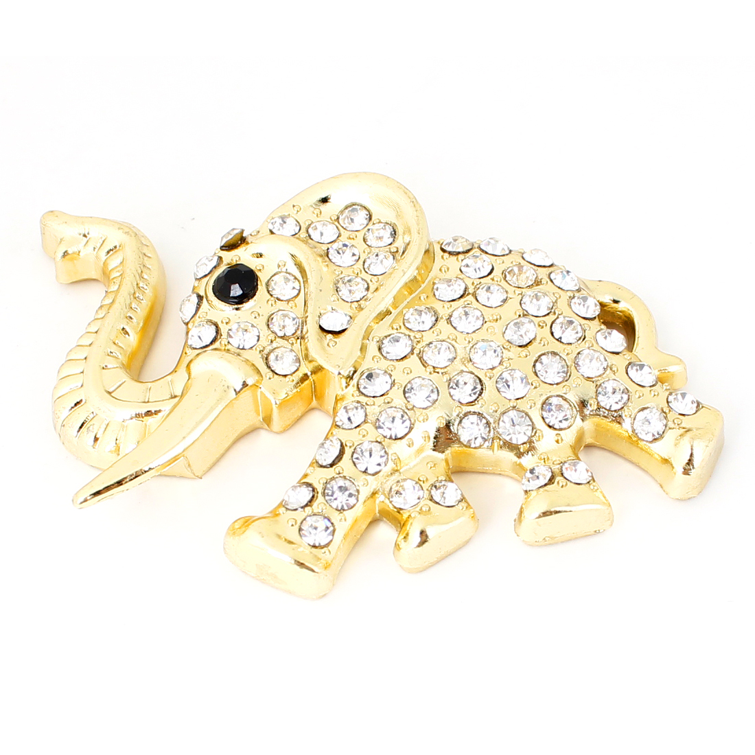 Faux Rhinestone Decor 3D Gold Tone Elephant Shape Sticker Badge Emblem for Car