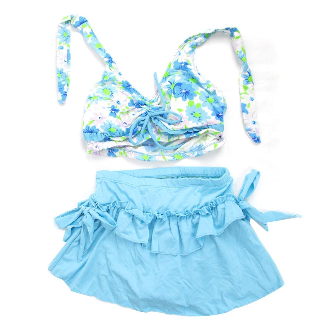 Woman Beachwear Flower Print Halter Neck Bra Top Skirt Swimsuit Swimwear Cyan XS