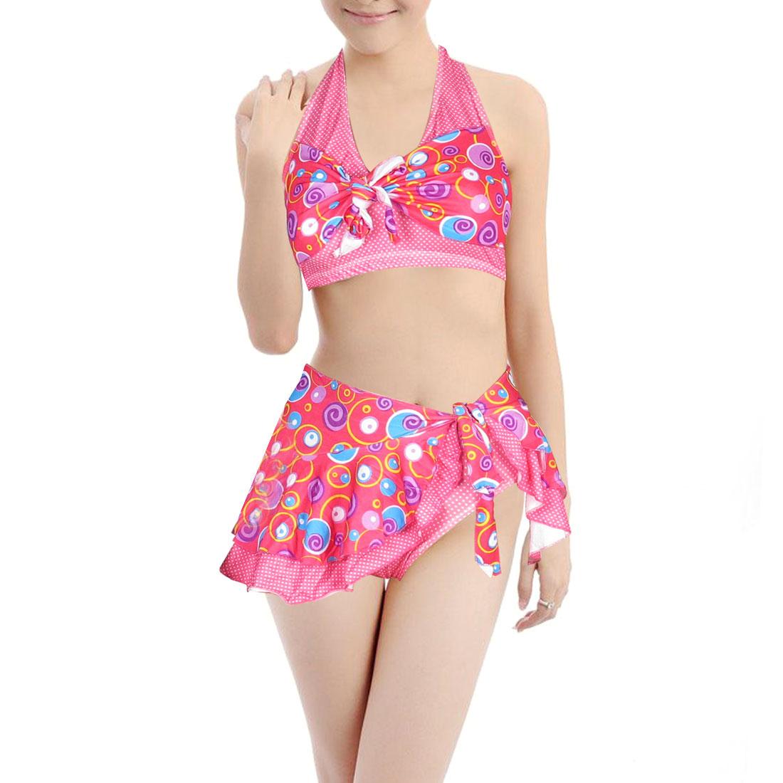Ladies Three Piece Halter Bra Top Briefs Wrap Skirt Swimsuit Swimwear Fushcia XS