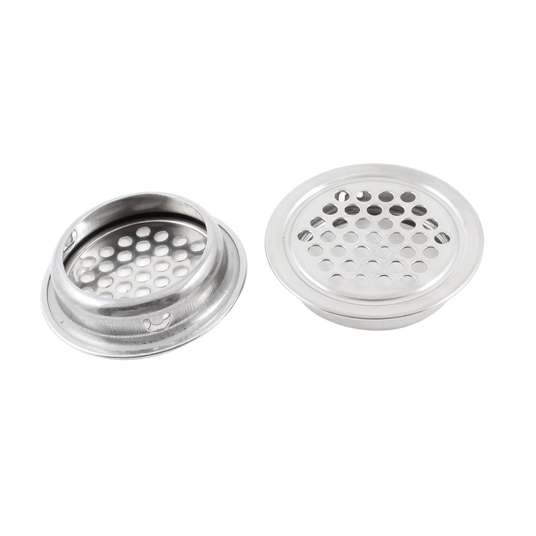 34mm x 42mm Silver Tone Perforated Round Mesh Air Vents Mini Louvers 2 Pcs