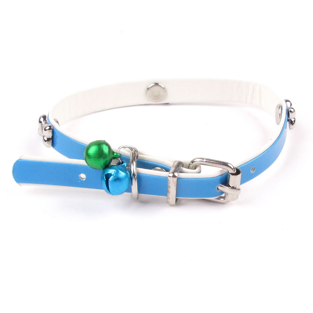 Faux Leather Adjustable Metal Jingle Bell Bone Detailing Dog Cat Pet Collar Blue