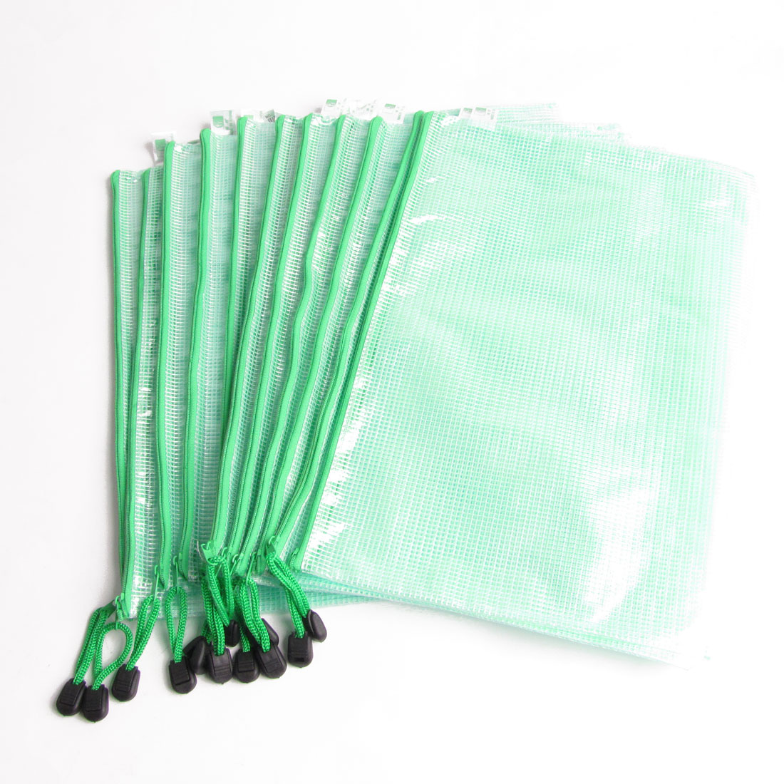 Zipper Closure Green Plastic A4 Size Paper File Holder Bag 12 Pcs