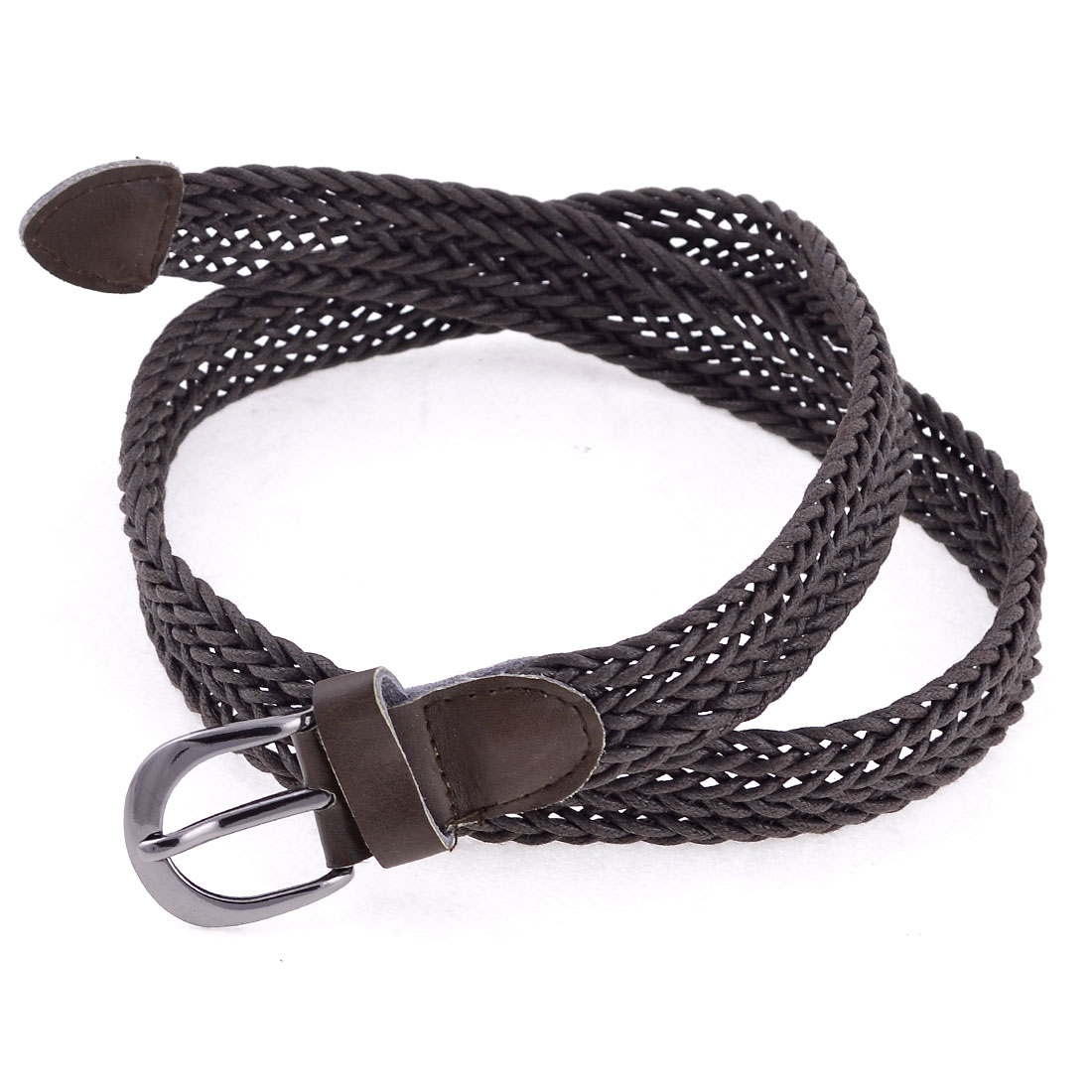Women Metal Single Pin Buckle 2cm Width Adjustable Waist Belt Coffee Color